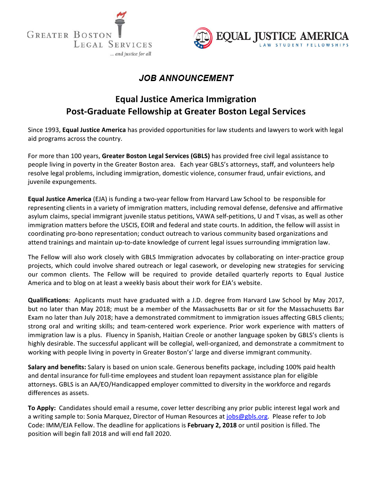 Equal Justice America Immigration  Post-Graduate Fellowship at Greater Boston Legal Services